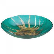 celestial teal decorative glass plate bowl w metallic gold starburst center