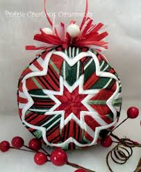 98 best Quilted ornaments images on Pinterest | Christmas crafts ... & Quilted Ball Christmas Ornament Red Green White Stripes Adamdwight.com