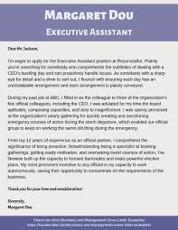 executive assistant cover letters executive assistant cover letter example
