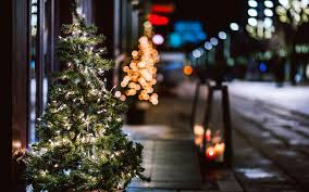 Plant City Christmas Lights Christmas Tree Garland Lights City Street Night Winter