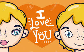 Graphic Design For Teens I Love You Card With Cute Teens Cartoon Vector Vector Illustration