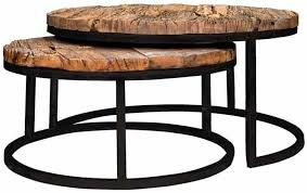kensington recycled wood industrial round coffee table set of 2
