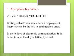 Thanks Letter After Phone Interview Telephonic Interview