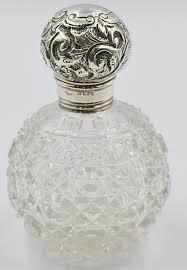 joseph hawkins antique sterling silver perfume bottle cut glass 1903
