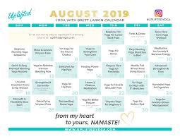 August Calandar August 2019 Calendar Brett Larkin Yoga Brett Larkin Yoga