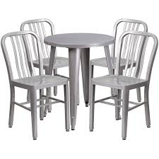 24 round silver metal indoor outdoor table set with 4 vertical slat back chairs