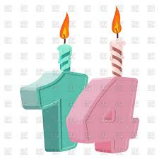 14th Birthday Candle For Holiday Cake Fourteenth Vector Image Of