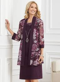 Print Jacket Dress With Free Necklace By R M Richards