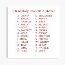 The alphabet first used by the armed forces has spread to all national and international radio broadcasts and has been standardized by nato. Military Phonetic Alphabet Canvas Prints Redbubble