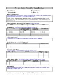 Monthly Work Report Template Adorable Weeklyess Report Form Samples Project Status Sample Google Search