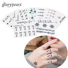 1 шт черный алфавит шаблон временная татуировка палец наручный чулок