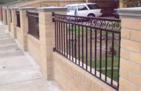 wrought iron fence brick. Brick Fencing Combination Steel Wrought Iron Fence