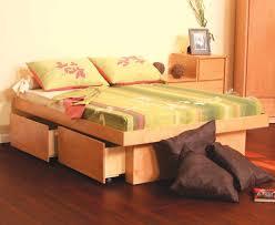 Image of: Platform Storage Bed Queen Wood
