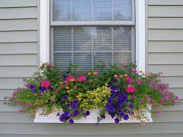Decorative Planter Boxes White Window Planter Box With Molding Decorative Outdoor Flower 71