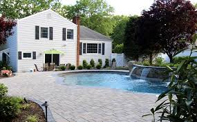 Image Above Ground Vibrant Backyard Swimming Pool Poynter Landscape Balanced Materials Define This Pool Patio Autumn Leaf