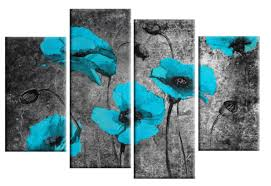 turquoise flowers canvas wall art