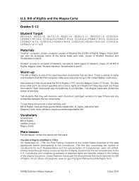 U S Bill Of Rights And The Magna Carta Grades 5