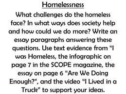 your essay will be paragraphs introduction sentences st  homelessness what challenges do the homeless face in what ways does society help and how