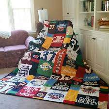 Quilts For Everyone - Memory Quilts by Molly & A Hockey Quilt made with hockey jerseys! Hockey jerseys are hard to sew but  the end result is awesome! Adamdwight.com