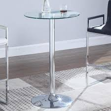 round pub height dining table with glass top and pedestal base 120341 image 1