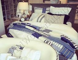 pottery barn finch quilt set navy blue king 2 standard shams stripe nautical new