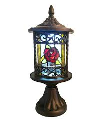regal rose stained glass outdoor lantern