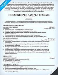 Elegant Housekeeping Resume Samples B4 Online Com