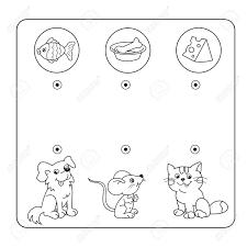 漫画の動物と好きな食べ物迷路や幼児用迷路ゲームパズルもつれた道ゲームに一致します子供のため