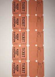 100 Orange Colored Raffle Tickets Double Roll 50 50 Carnival Fair Split The Pot One Hundred Consecutively Numbered Fundraiser Festival Event Party