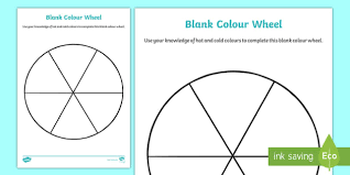 A colour wheel with primary and secondary colours. Cfe Blank Color Wheel Worksheet Teacher Made