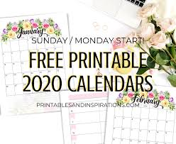 Free 2020 Monthly Calendar Template Free Printable 2020 Calendar With Flowers Printables And