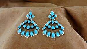 sterling silver and sleeping beauty chandelier earrings from our collection of native american navajo handcrafted jewelry