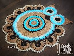 crochet pattern pdf for making a multicolored retro owl rug or doily rug nursery mat for