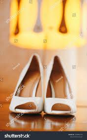 Light Yellow Wedding Shoes White Wedding Shoes Near Rose Wedding Stock Photo Edit Now