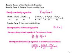 special cases of the continuity equation