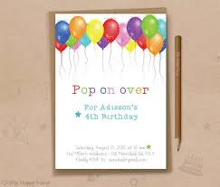 Balloon Birthday Invitations Balloon Birthday Invitation Printable Balloons Party Etsy