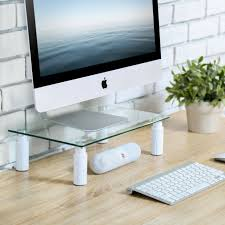 fitueyes glass adjule computer monitor riser laptop tv stand 38 24cm clear