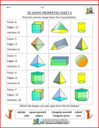 3d Shapes Edges Vertices And Faces Chart Printable 3d Shapes Worksheets Properties 6 Faces Edges