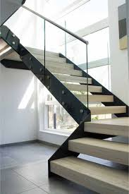 Interior Design: Glass Stair Railing With Stone Wall - Stair Railing Ideas