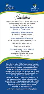 seminar invitation business development seminar invitation bingara