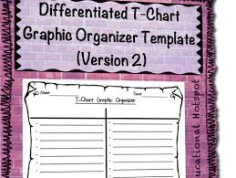 Chart Graphic Organizer Differentiated T Chart Graphic Organizer Template Horizontal Version
