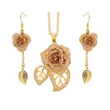 white glazed rose jewelry set in leaf theme jpg