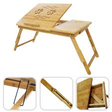 bamboo laptop table foldable portable adjule lap in bed table portable desk with storage