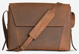 front view of the slim vegetable tanned brown leather briefcase bag