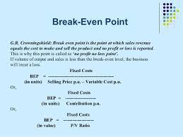 Ppt On Break Even Analysis