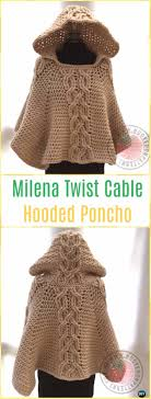 milena twist cable hooded poncho pattern by hookedopatterns crochet women capes poncho patterns
