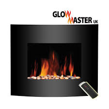 black glass wall mounted electric fireplace