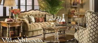 villa valencia wood trim tufted sofa