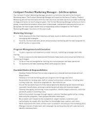 Marketing Manager Resume Responsibilities Product Job Description ...