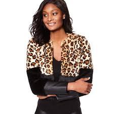 new york company black leopard faux leather jacket coat